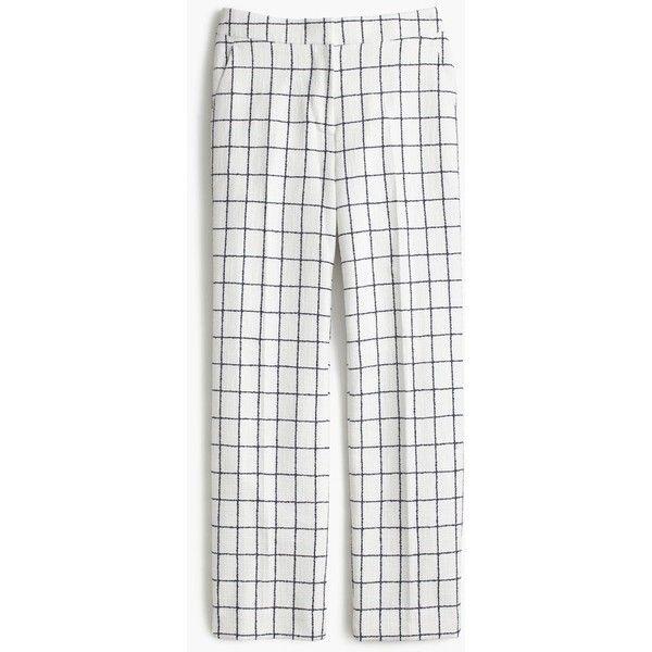 J.Crew Patio Pant (7,935 INR) ❤ liked on Polyvore featuring pants, white crop pants, wool tweed pants, tweed trousers, crop pants and white trousers