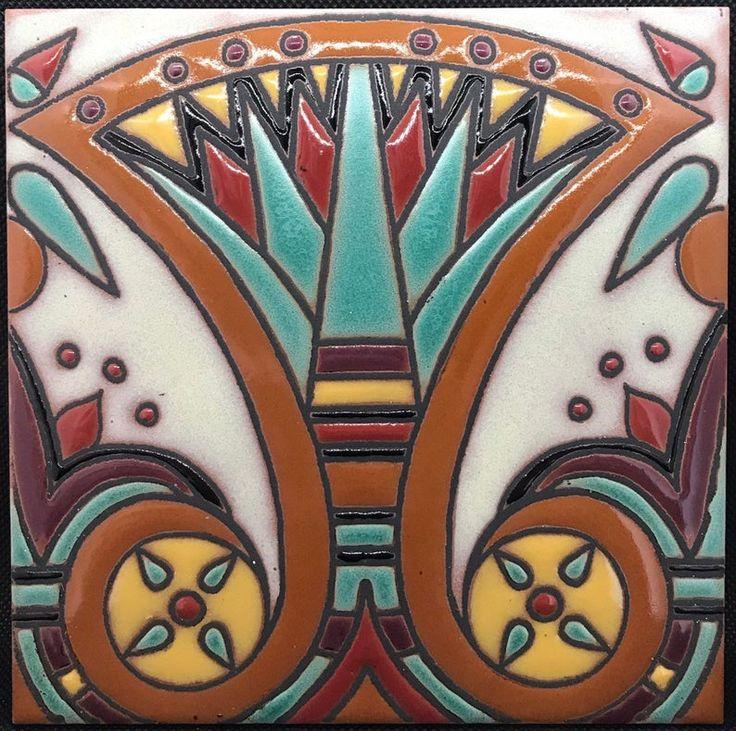 Handpainted egyptian revival art deco craftsman tiles