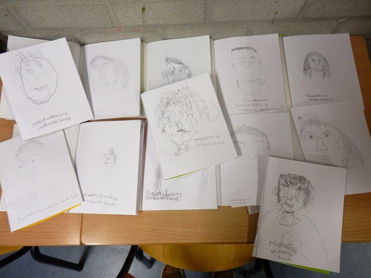 portret tekenen met je linkerhand, groep 6