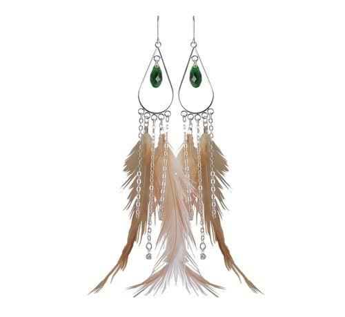øreringe med fasankok og kæder Til disse øreringe er der brugt følgende materialer:  4 stk. fjer fra rød fasankok 4 stk. endemuffer, forsølvet 2 stk. mellemled, lang dråbe, forsølvet 2 stk. swarovski facetdråbe, bregne grøn 4 stk. kæde á 4,5cm, forsølvet (18cm) 2 stk. kæde á 6cm, forsølvet (12cm) (samme som ovenstående) 2 stk. swarovski krystalvedhæng, forsølvet 14 stk. øskner 4mm, forsølvet 1 par ørekrog med øje, sterlingsølv 1 stk. spidstang 1 stk. fladtang + lim