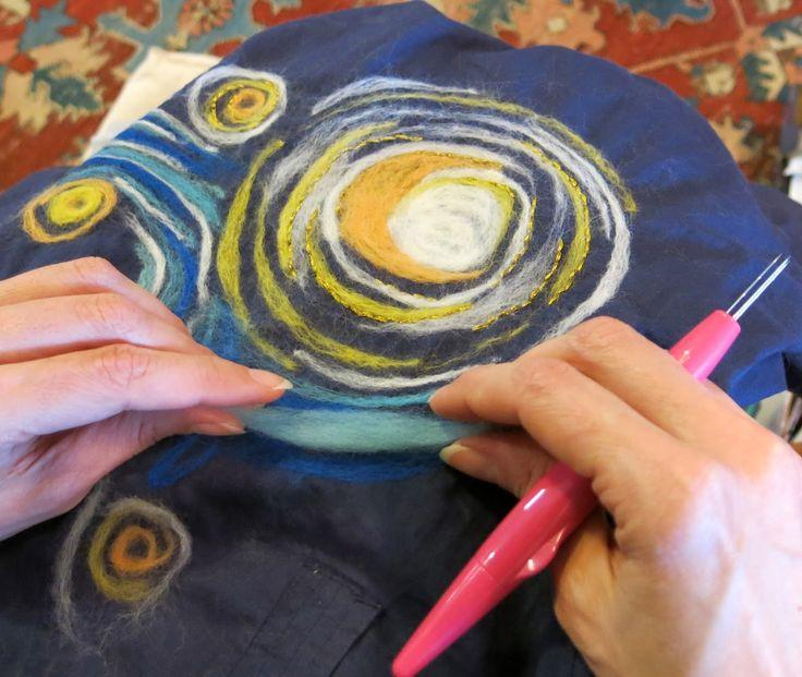 needle felting The Starry Night