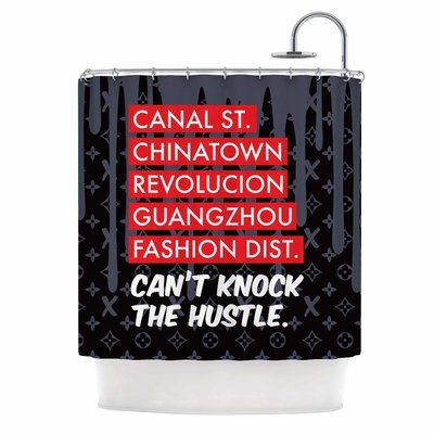 East Urban Home 'Can't Knock the Hustle' Urban Shower Curtain Color: Black/Red
