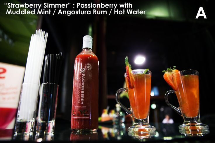 "In need of a little tropical pick me up?  Passionberry's ""Strawberry Simmer"" - the perfect winter warmer cocktail!"