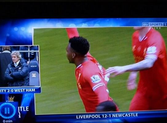 Liverpool take 12-1 lead over Newcastle...apparently  LOL
