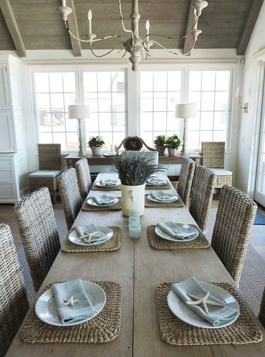 Coastal Dining Room, Giannetti Home Design Services, Via Velvet U0026 Linen