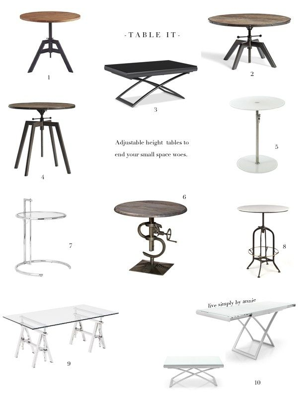 A godsend for small spaces! These tables adjust in height, from coffee to dining table in a flash.