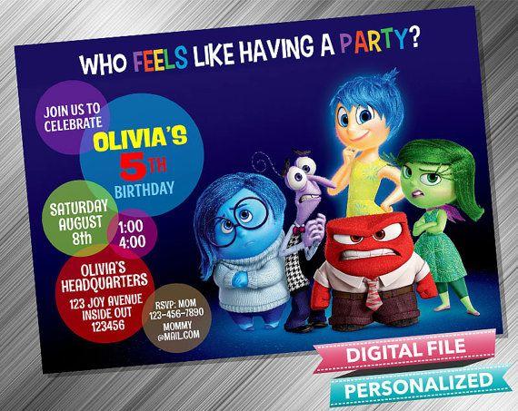Inside Out Invitation by kidspartydiy on Etsy