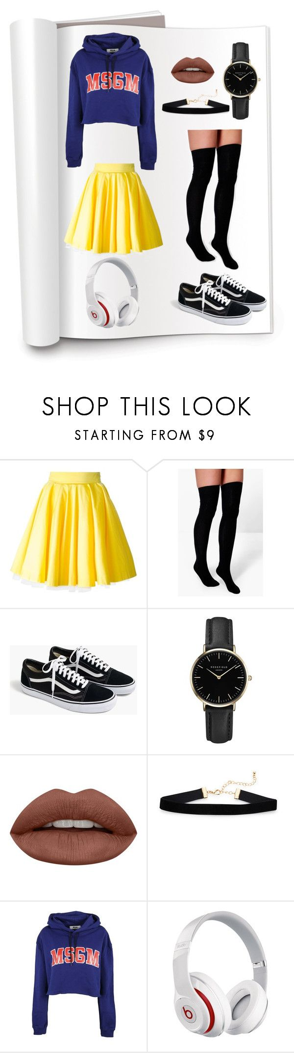 """whatever"" by tiyati on Polyvore featuring Philipp Plein, Boohoo, J.Crew, ROSEFIELD, Huda Beauty, MSGM and Beats by Dr. Dre"
