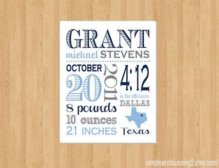 11x14 Custom Birth Print birth announcement by SimpleandStunning2, $26.00