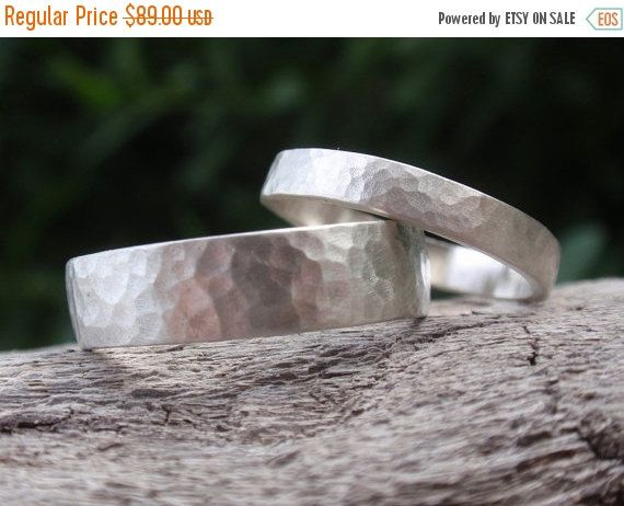 SALE 10% OFF hammered wedding band set of 2 matching by preciousjd