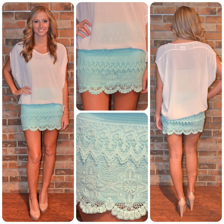 Mint lace skirtMinis Skirts, Beautiful Summer, Clothing Style, Mint Lace, Blue Lace, Clothing Summer, Summer Clothing, Lace Skirts, Dreams Closets