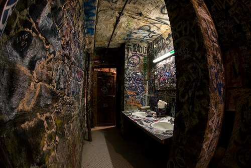 Bathroom for the music venue/bar that I will own one day ..mm reminds me of the Masquerade in ATL