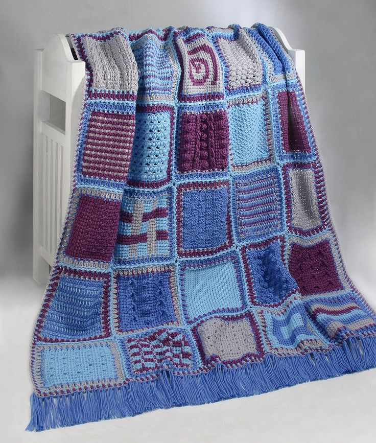 """Thirty-five Tunisian crochet stitch patterns form this heirloom sampler afghan. Designed for stitching with worsted weight yarn and size L and M Tunisian crochet hooks. Step-by-step photos and instructions for Tunisian crochet included. Color photo of each block included. Skill level: Intermediate. Size 47""""x65 1/2"""" plus fringe."""