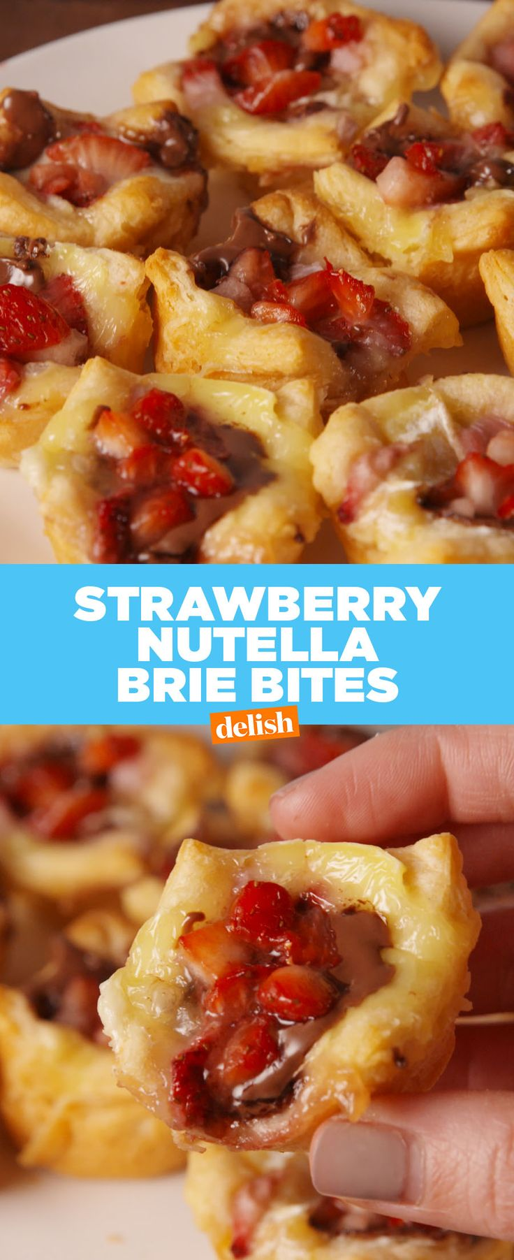 These Nutella Strawberry Brie Bites will be demolished in SECONDS. Get the recipe at Delish.com. #nutella #strawberry #brie #cheese #fruit #recipe #easyrecipes #chocolate #appetizer #dessert
