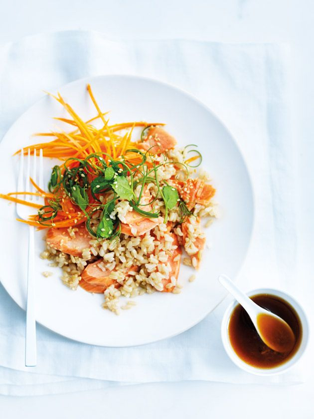 salmon and brown rice salad from donna hay