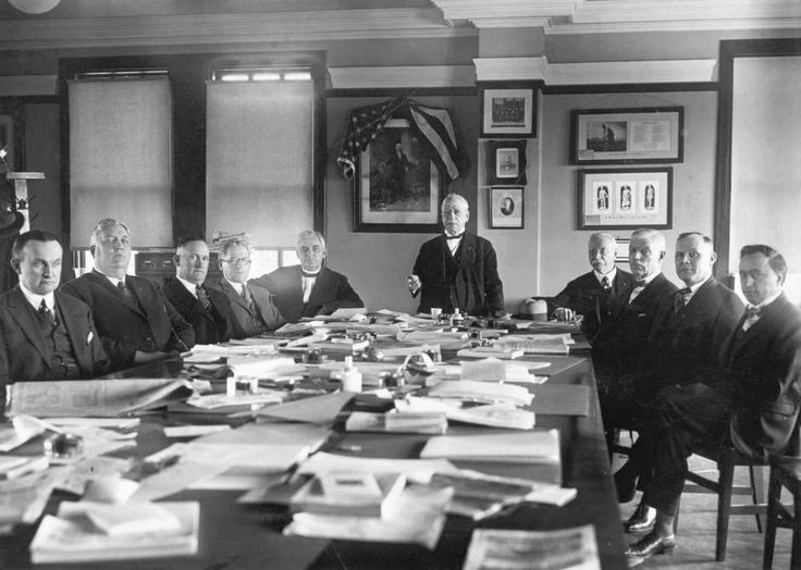 Today in History: December 8 <=> 1886: AMERICAN FEDERATION OF LABOR   <=> The American Federation of Labor is found at a convention of union leaders in Columbus, Ohio. Samuel Gompers With AFL Council - © Bettmann/AP Photo