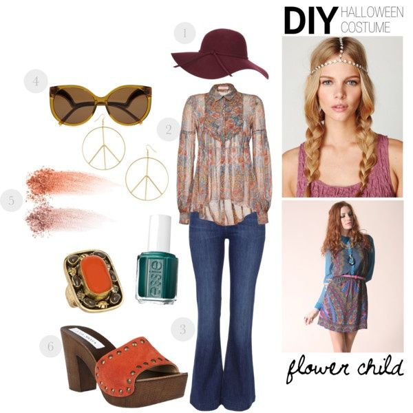 """d.i.y. halloween costume: flower child"" by luxieeee on Polyvore: Flowers Children,"
