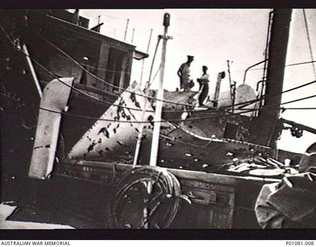 DARWIN HARBOUR, NT, 1942-02. DAMAGE ABOARD 2/1ST AUSTRALIAN HOSPITAL SHIP…