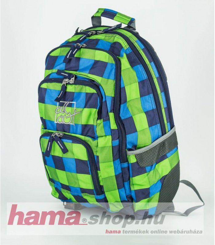"""Hama """"All Out"""" Iskola-  hátizsák (külön tartozékokat nem tartalmaz).  Tulajdonságok:  » Párnázott hátfal » S alakú, kényelmes vállpántok » Extra mellkaspánt a stabilitásért » 2 külső hálós rekesz » Párnázott laptop tartó rekesz » Nagyméretű pakoló rekesz (A4"""