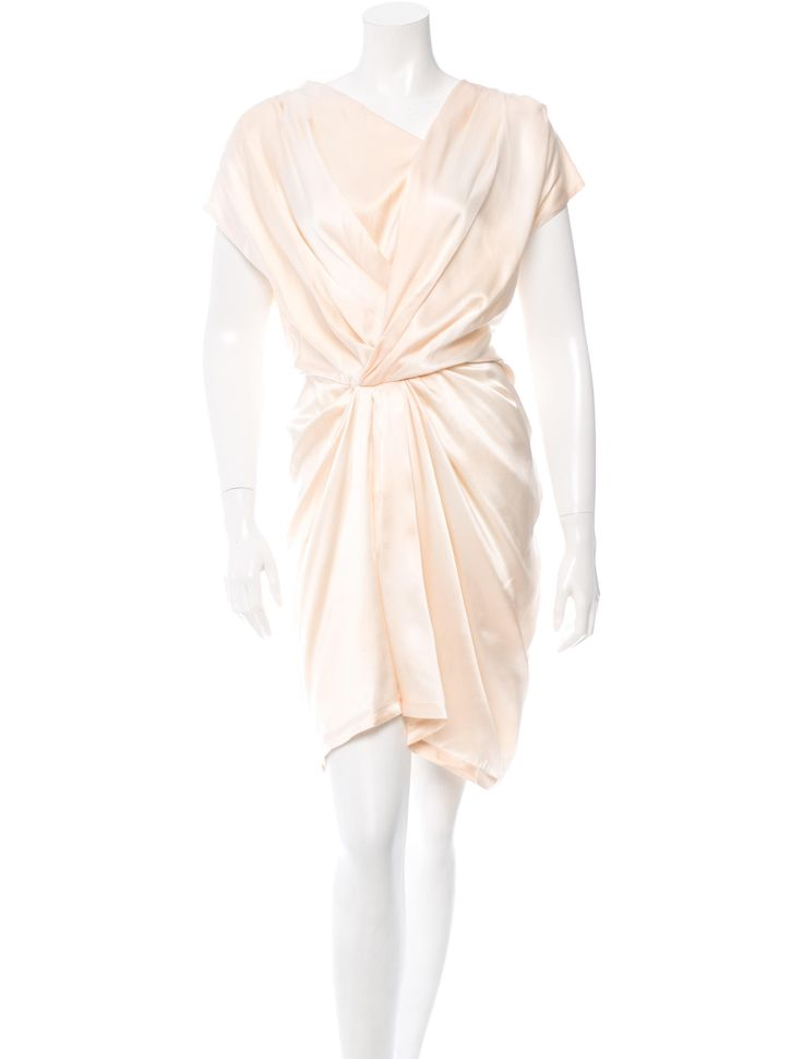 Champagne Thakoon cap sleeve pleated silk dress with exposed hook and eye closures at left side.