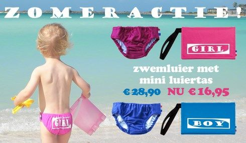Wasbare zwemluier / zwembroekje met mini luiertas. Van € 28,90 voor € 16,95.