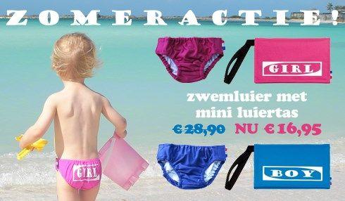 Zomeractie! Uitwasbare zwemluier / zwembroekje met praktische mini luiertas. Super handig voor op vakantie!