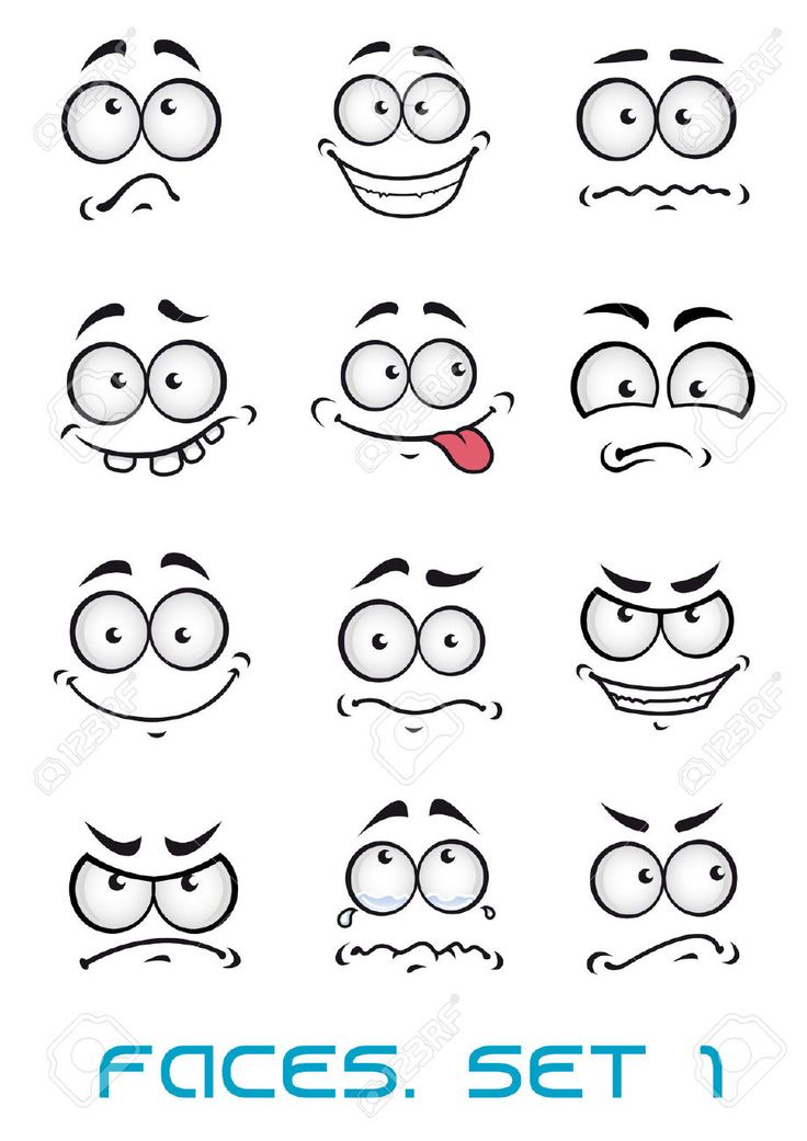 Cartoon faces with different emotions as  happiness, joyful,..