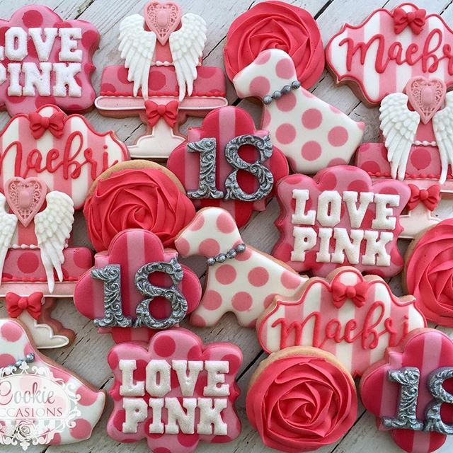 Victoria's Secret Set for an 18th Birthday  #decoratedcookies #cookieoccasions #customcookies #sugarcookies #victoriassecretpink #victoriassecretcookies