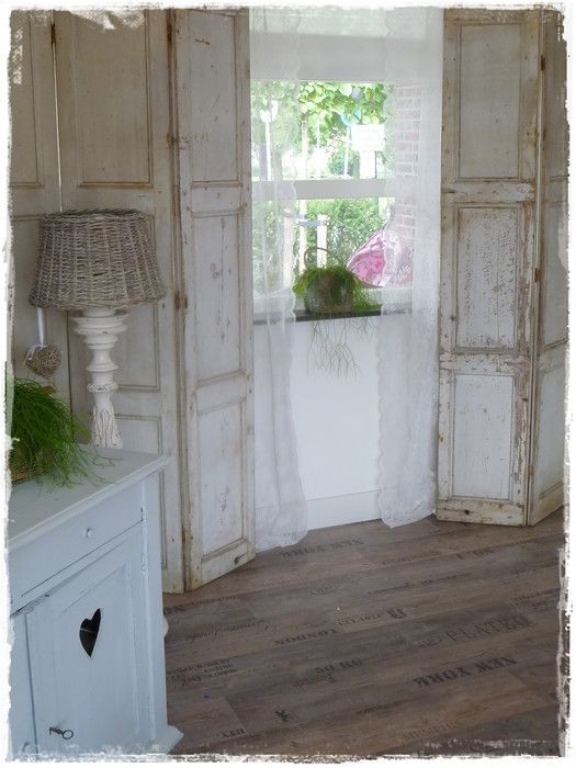 What a great idea! Stenciling words on floor to make it appear like old crate wood.