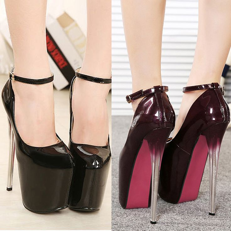 Fashion gradient platform pumps patent leather black high heels ...