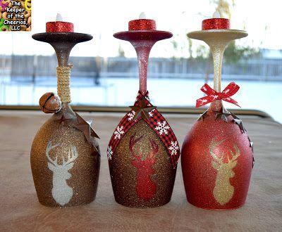 RUSTIC DEER WINE GLASS CANDLE HOLDERS