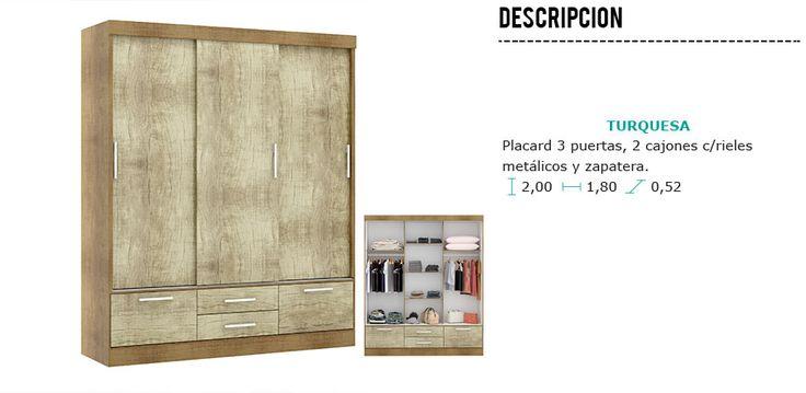 Ropero Placard 3 Puertas Corredizas 2 Cajones Y Zapatera - $ 5.255,00 en Mercado Libre