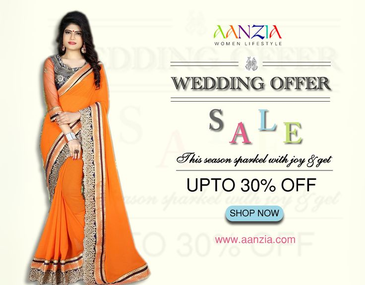 "Wedding Wear Sarees starting @ Low Price Get UPTO 30% OFF + Free Shipping + Cash on Delivery Shop Now, Apply Code: ""30OFF""  #weddingwear #indiansarees #sareesonline #designersarees #partywearsarees #festival #functional #wear #saris #Chiffon #Georgette #sarees #online #lowprice #sarees #freeshipping #cashondelivery #aanzia #shopping"