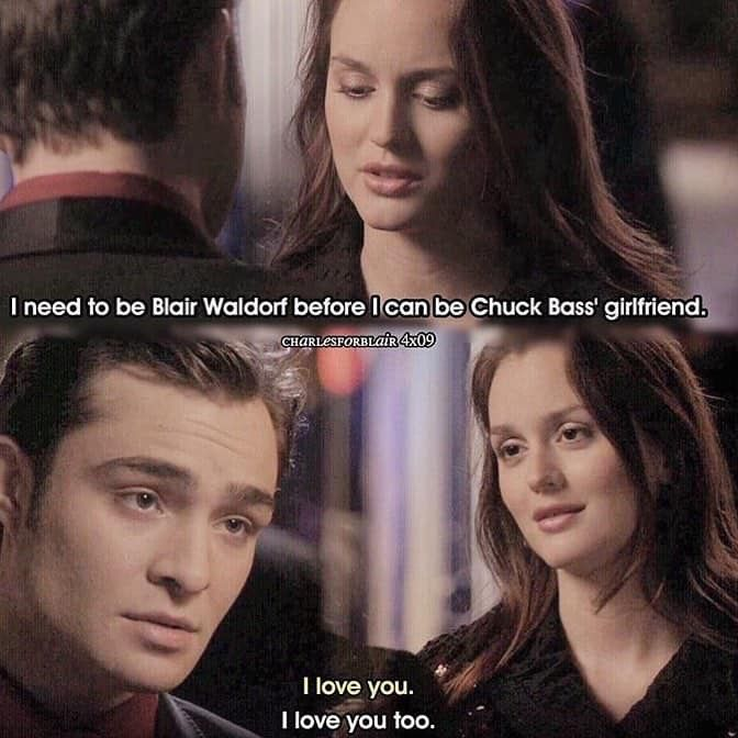 Chuck Says I Love You To Blair Pin By Freedomgirl On Gossip Girl Gossip Girl Tv Show Couples