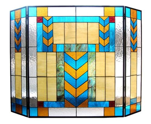 stained glass fireplace screens | Western Style Stained Glass Fireplace Screen