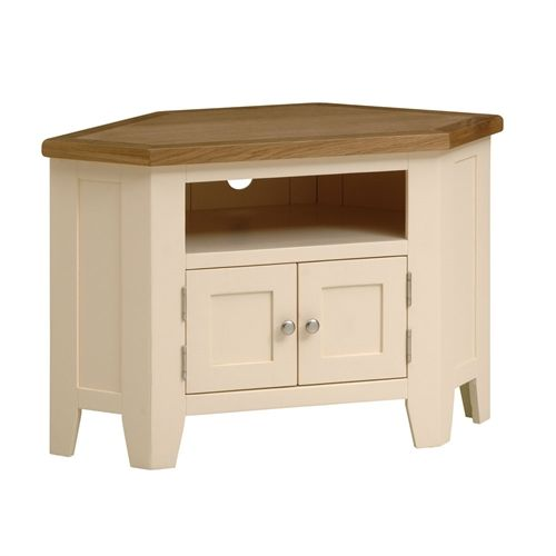 """Cheltenham Cream Painted Corner TV Unit with 2 Doors - up to 45"""" (V857) with Free Delivery 