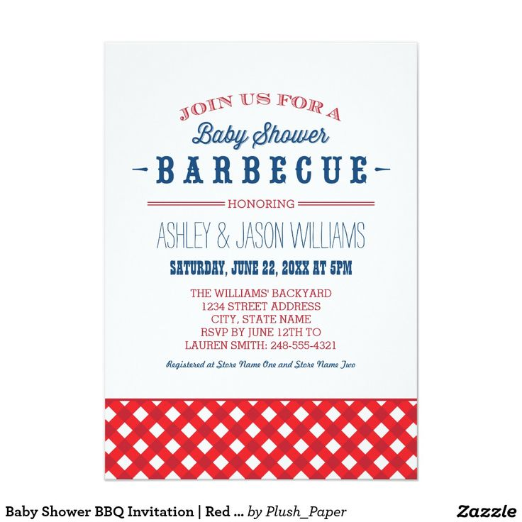 baby shower bbq invitation red white blue