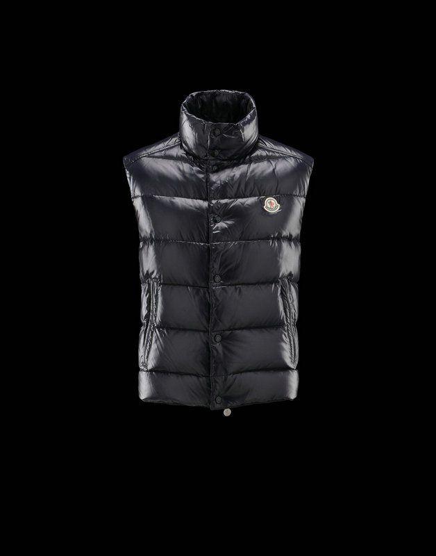 Moncler Tib Men Snap Button Zip Fly Closure Down Vest Navy Outlet Sale