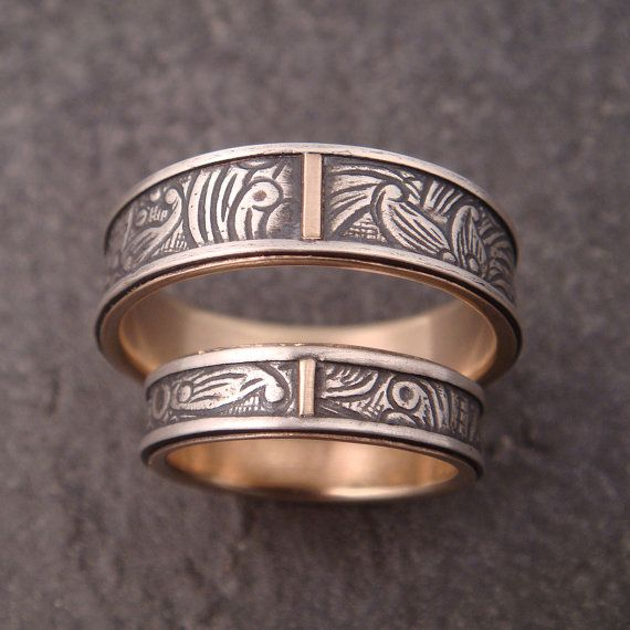 Wedding Band Set  10K Gold Lined Sunflower by DownToTheWireDesigns