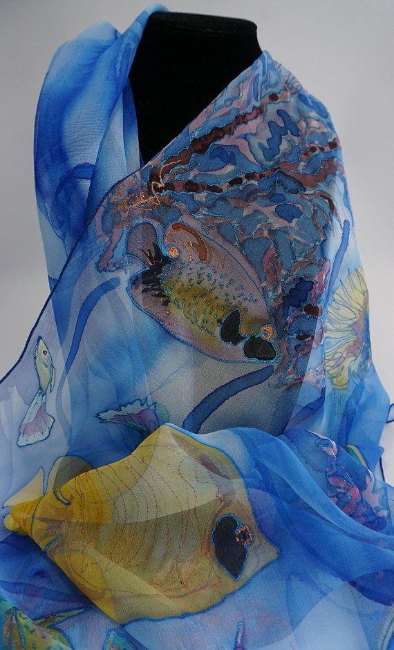414e264062ba Shawl chiffon silk hand painted, blue scarf, scarf, fish, mothers ...