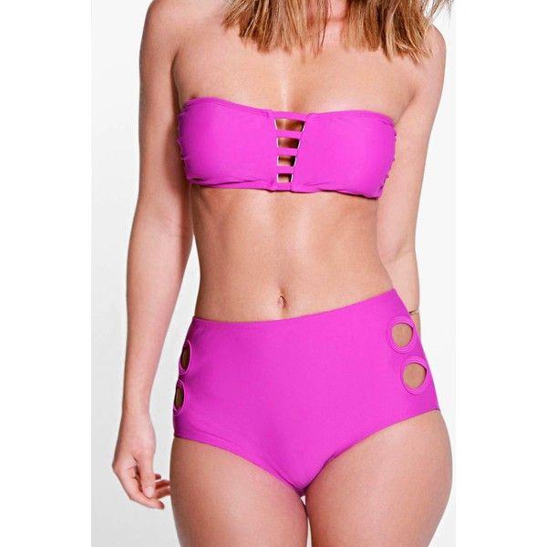 Boohoo Oslo Mix And Match Cut Out Bikini Brief ($16) ❤ liked on Polyvore featuring swimwear, bikinis, purple, high-waisted bikini, high waisted bikini, bikini bottom, highwaisted bikini bottoms and high rise bikini