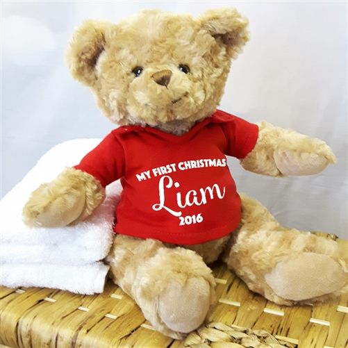 How adorable is this Personalised 'My First Christmas' Teddy Bear? Order him online and personalise him with your little one's name and the year. Also available with a white, pink or blue tshirt. WowWee.ie | €20.00