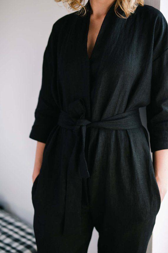 4af91b2945 Black Jumpsuit - Kimono Jumpsuit - Linen Jumpsuit - Kimono Linen ...