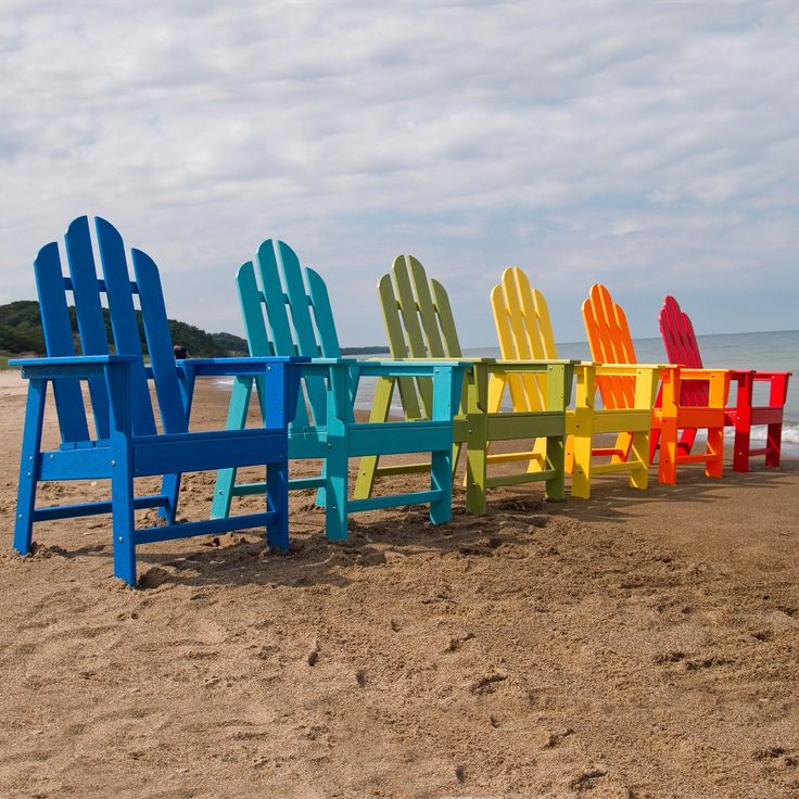 POLYWOOD® Recycled Plastic Long Island Adirondack Chair - These PolyWood chairs have been a hit the moment we started carrying them - you'll love seeing these happy colors in your outdoor area! Featuring time...