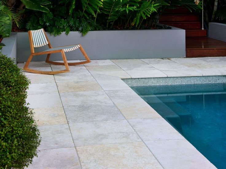 Limestone: Jericho limestone pavers used as pool surround