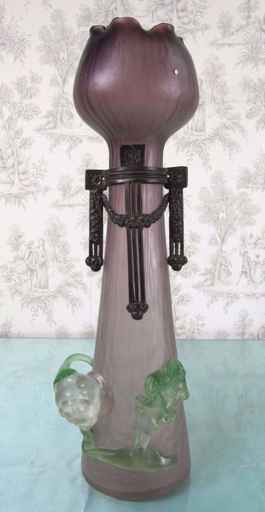 Antique c1900 Art Nouveau Hyacinth Vase Bohemian Metal Mount Loetz Era Glass