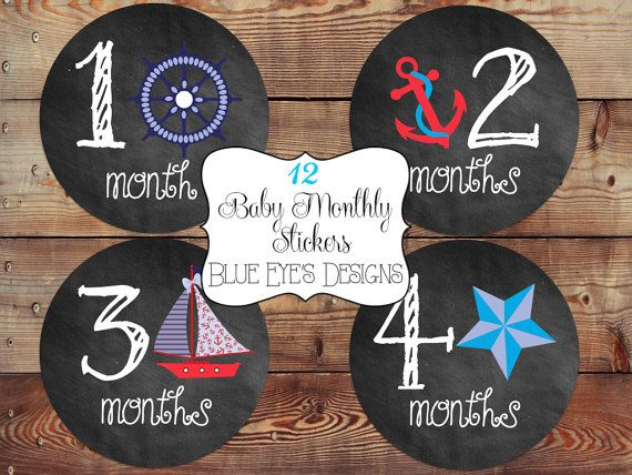 Baby Monthly Sticker,Baby Age Stickers,Baby Month Milestone Stickers,Baby Monthly Stickers,Monthly Baby Stickers,Nautical Baby Month Sticker on Etsy, $12.00
