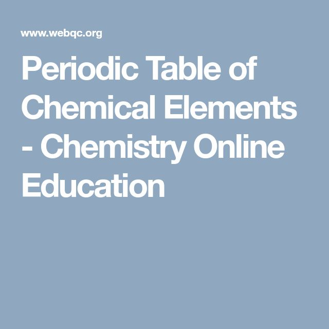 Periodic Table of Chemical Elements - Chemistry Online Education