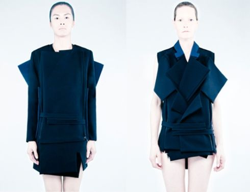 Rad Hourani has crafted one garment made of six fabrics that are capable of transforming into 22 new looks.