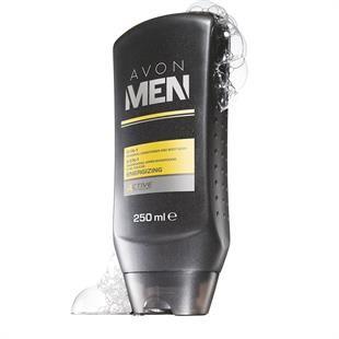 Avon Men Energising 3 az 1-ben sampon, balzsam és tusfürdő  Az Avon Men Energising 3 az 1-ben sampon, balzsam és tusfürdő tisztítja a hajat és a bőrt, anélkül, hogy kiszárítaná.  hűsítő formula mentollal, E-vitaminnal, aloe vera- és gyömbérkivonattal az E-vitamin táplálja a bőrt és megelőzi annak kiszáradását, az aloe mélyen hidratál, a gyömbér gyulladáscsökkentő és anti-bakteriális hatású, a mentol pedig felébreszti az érzékeket és felfrissíti a bőrt modern, férfias, frissítő illattal